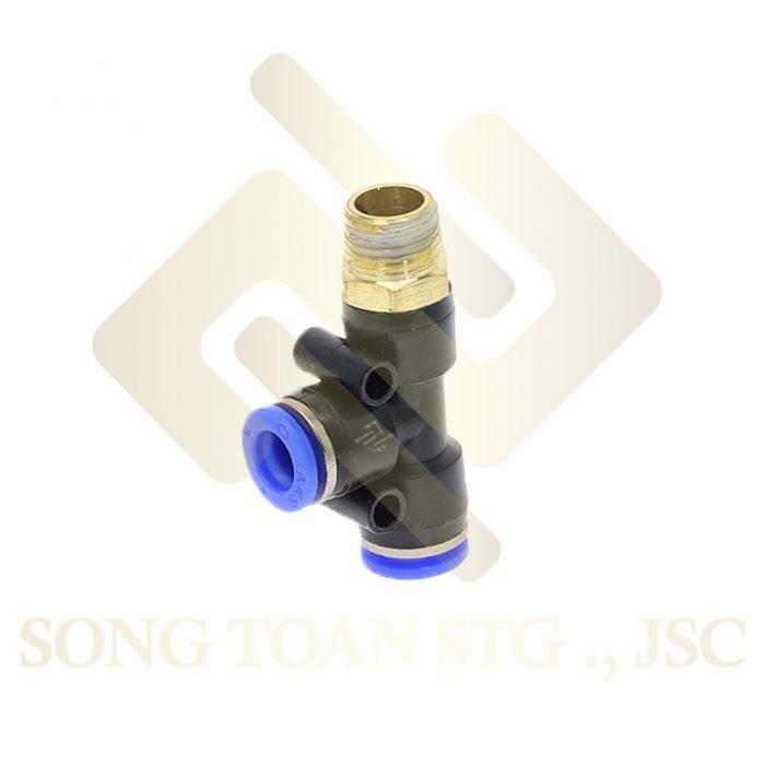 PD - T (tee) ren ngoài cạnh, tê 2 đầu nối ống hơi - khí nén