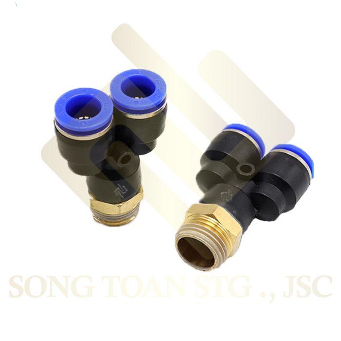 PX - Y 1 đầu nối ren ngoài, 2 đầu nối ống hơi - khí nén